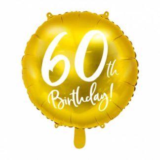 Złoty balon foliowy na 60 urodziny