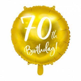 Złoty balon foliowy na 70 urodziny