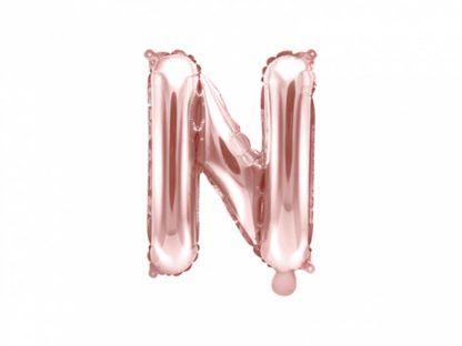 Różowe złoto balon foliowy w kształcie litery N
