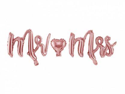"""Balon foliowy różowe złoto """"Mr Mrs"""""""