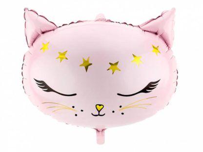 Różowy balon foliowy w kształcie kotka