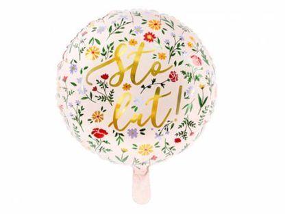 """Balon foliowy z motywem kwiatów i napisem """"sto lat"""""""