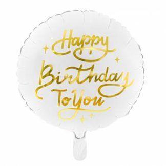 """Biały balon foliowy ze złotym napisem """"happy birthday to you"""""""