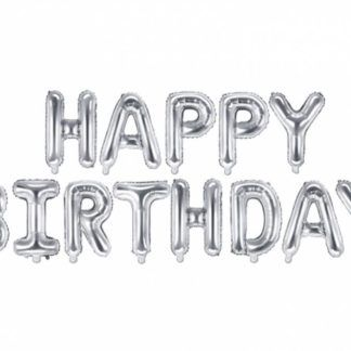 """Srebrne balony w kształcie liter układające się w napis """"happy birthday"""""""