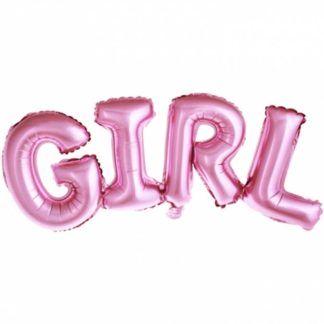 """Różowe balony-litery w kształcie napisu """"girl"""""""