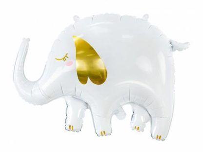 Balon foliowy w kształcie białego słonika