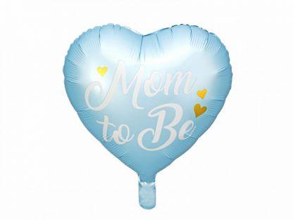 """Niebieski balon foliowy w kształcie serca z napisem """"Mom to Be"""""""