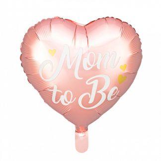 """Różowy balon foliowy w kształcie serca z napisem """"Mom to Be"""""""