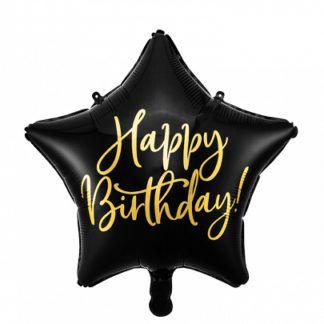 Czarny balon foliowy w kształcie gwiazdki na urodziny