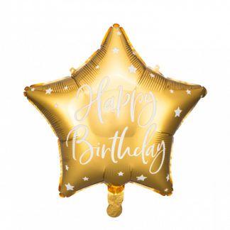 """Złoty balon foliowy w kształcie gwiazdki z napisem """"happy birthday"""""""