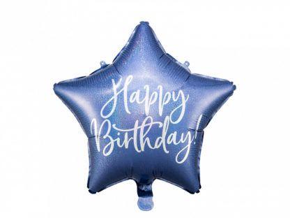"""Granatowy balon foliowy w kształcie gwiazdki z napisem """"happy birthday"""""""