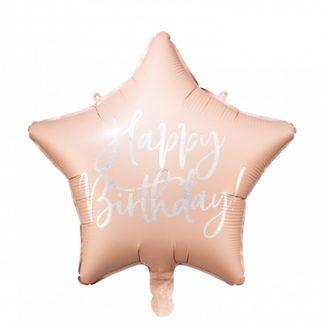 """Pudrowy róż balon foliowy w kształcie gwiazdki z napisem """"happy birthday"""""""