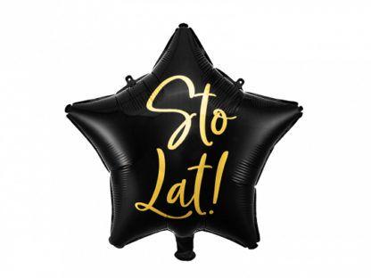 """Czarny balon foliowy w kształcie gwiazdki z napisem """"sto lat"""""""