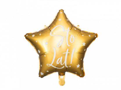 """Złoty blon foliowy w kształcie gwiazdki z napisem """"sto lat"""""""