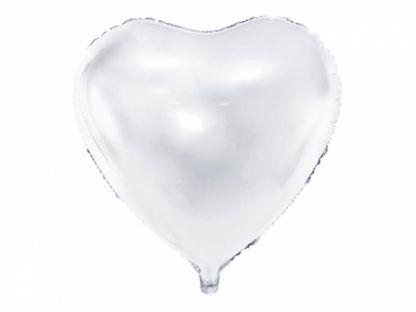 Biały balon foliowy w kształcie serca