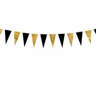 Girlanda ze złotych i czarnych trójkątów