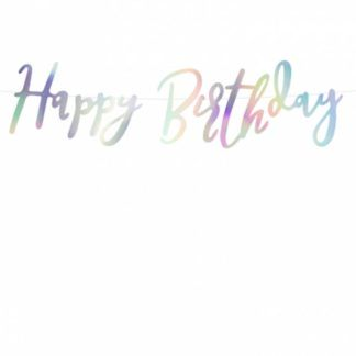 """Opalizująca girlanda z napisem """"happy birthday"""""""
