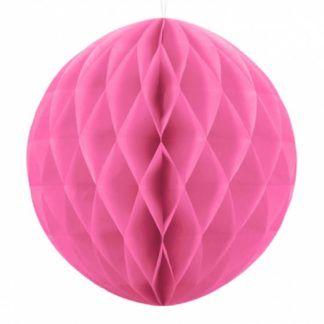 Różowa kula z bibuły