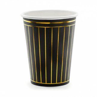 Czarny kubek papierowy ze złotymi paskami