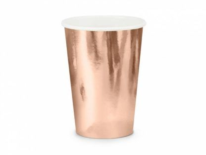 Kubeczek papierowy w kolorze różowego złota