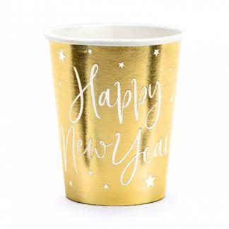 """Złoty kubeczek papierowy z białym napisem """"Happy New Year"""""""