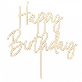 """Drewniany topper na tort z napisem """"Happy Birthday"""""""