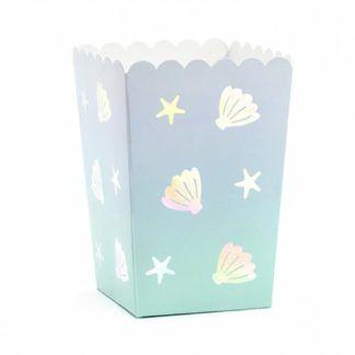Pudełeczko na popcorn z rysunkiem muszelek