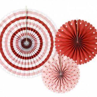 Rozety dekoracyjne w kolorze czerwonym