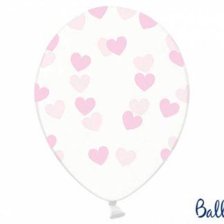 Balon lateksowy z różowymi serduszkami
