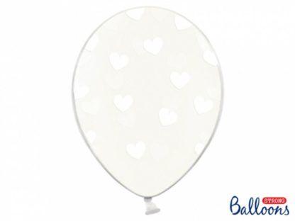 Balon lateksowy z biały serduszkami