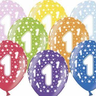 Kolorowe balony lateksowe z cyfrą 1