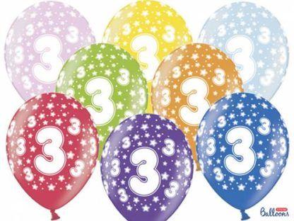 Kolorowe balony lateksowe z cyfrą 3