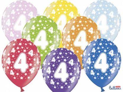 Kolorowe balony lateksowe z cyfrą 4