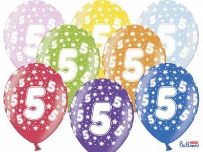 Kolorowe balony lateksowe z cyfrą 5