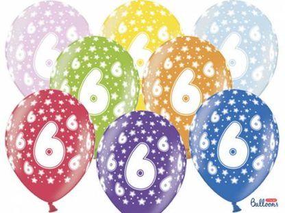 Kolorowe balony lateksowe z cyfrą 6