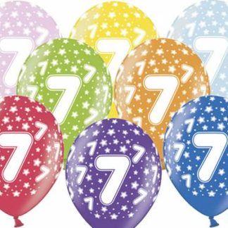 Kolorowe balony lateksowe z cyfrą 7