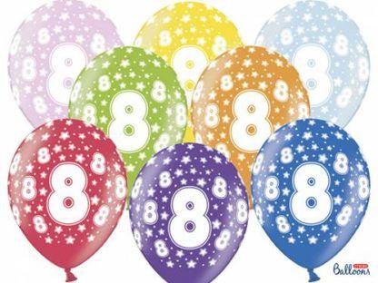 Kolorowe balony lateksowe z cyfrą 8