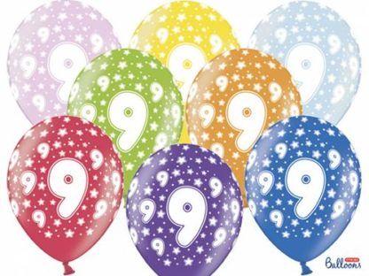 Kolorowe balony lateksowe z cyfrą 9