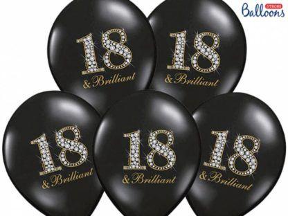 Zestaw czarnych balonów lateksowych na osiemnastkę