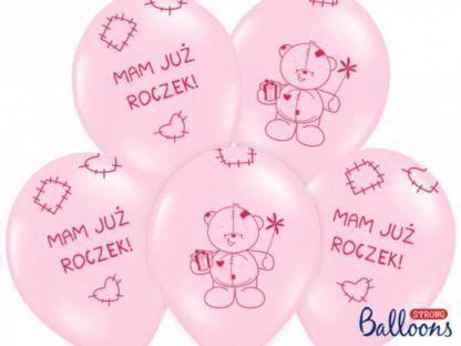 Zestaw różowych balonów z misiem na pierwsze urodziny