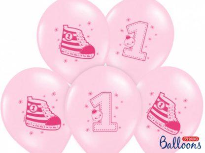 Zestaw różowych balonów lateksowych na pierwsze urodziny