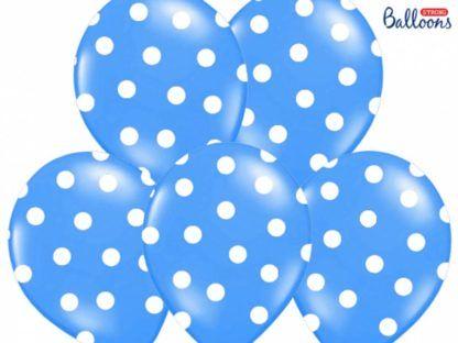 Zestaw niebieskich balonów lateksowych w kropki