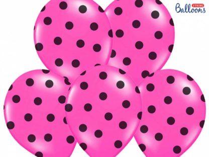 Zestaw różowych balonów lateksowych w czarne kropki