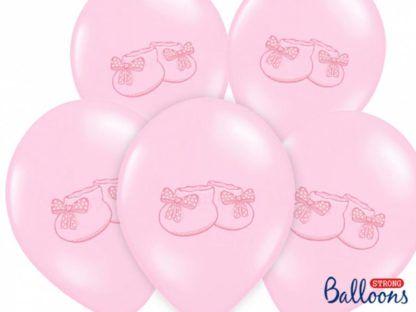 Różowe balony lateksowe z bucikami