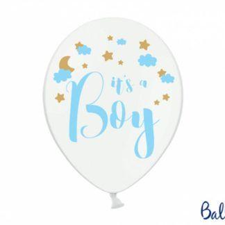 Biały balon lateksowy z niebieskim napisem na baby shower dla chłopca