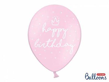 """Różowy balon lateksowy z napisem """"happy birthday"""""""
