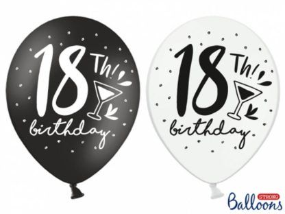 Biały i czarny balon na osiemnastkę