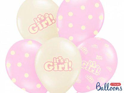 Zestaw różowych balonów lateksowych na baby shower dla dziewczynki