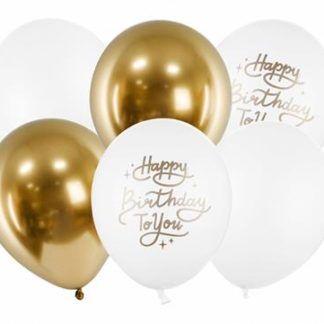 Białe i złote balony lateksowe na urodziny