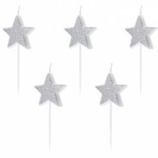 Świeczki na tort w kształcie srebrnych gwiazdek